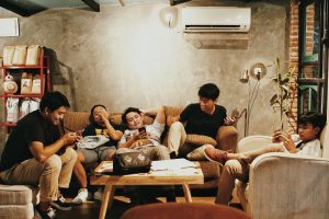 Photo of friends on sofa